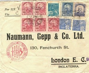 Brazil ZEPPELIN CONDOR Cover Santos Air Mail GB London 1935{samwells-covers}SV22