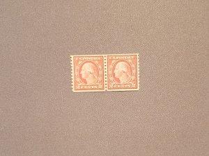 492, Washington 2c Carmine (II), Line Pair Mint OGNH,  PSE Cert, CV $118