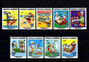 ANTIGUA - 1984 - DISNEY - DONALD DUCK - BEACH - CARIBBEAN + 9 X MINT - MNH SET!