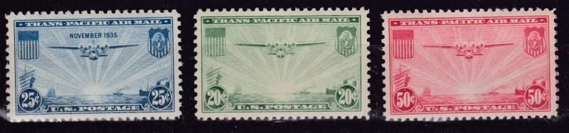 United States 1935 & 37 Three Stamps China Clipper   VF/NH(**)