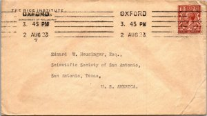 Oxford UK > San Antonio TX on Rice University Houston envelope 1923 GV stamp