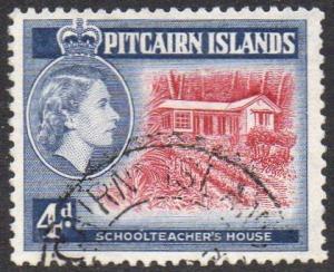 Pitcairn Islands 1958 4d Schoolteacher's House (Type II) used