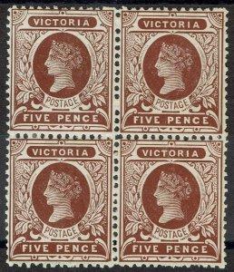 VICTORIA 1901 QV POSTAGE 5D BLOCK WMK V/CROWN PERF 12.5