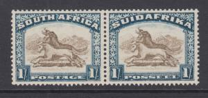 South Africa Sc 43 MLH. 1930 1sh Gnu bilingual pair, VLH