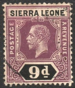 SIERRA LEONE-1912-21 9d Purple & Black Sg 121 FINE USED V42944