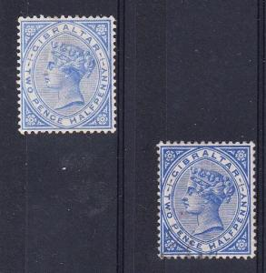 Gibraltar Scott 14a Mint hinged (Catalog Value $95.00) with #14 used