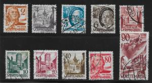 Germany (Wurttemberg) 8N28-37 (without pf) Various set Used