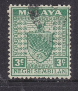 NEGRI SEMBILAN, 1941 Arms, thin paper, 3c. Green, used.