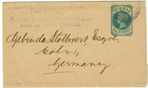 Trinidad 1890 cancel on wrapper to Germany