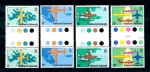 [71971] Falkland Islands 1979 Opening Airport Aircraft 4 Gutter Pairs MNH