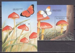 St. Vincent. Scott cat. 2560-2561. Mushrooms on 2 s/sheets.  ^