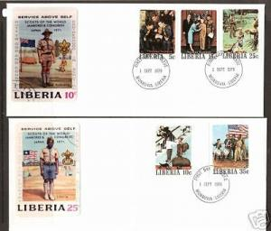 Liberia Sc 853-857 FDC. IMPERF 1979 Rockwell Boy Scouts on 20 Matched FDC-s