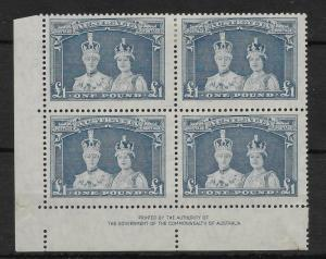 AUSTRALIA SG178a 1949 £1 BLUISH SLATE IMPR BLK OF 4 -2 MNH, 2 MTD MINT
