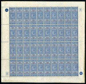 Antigua 1870 2d Stamp Duty Sheet of 40