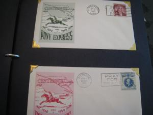 U.S.  PONY EXPRESS CENTENNIAL (1960)  THEME COVERS