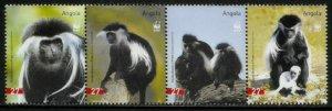 Angola #1279 MNH Strip - World Wildlife Fund - Monkeys