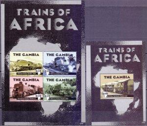 Gambia. 2013. trains. MNH.