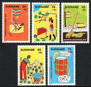 Surinam B294-B298, MNH. Children's drawings of city cleaning activities, 1982