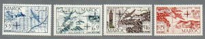 French Morocco: 1950 Solidarity Fund Air set (4) SG 379-82 mint