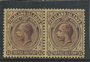 FALKLAND IS 1921-28 2½d DP PURPLE/P YELLOW PAIR ONE WITH SWAN NECKED 2 MM S