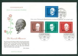 Germany. 1968 FDC. With Souvenir Sheet. Konrad Adenauer.