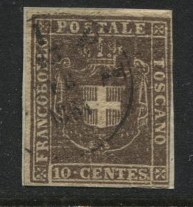 Italian States Tuscany 1860 10 centes deep brown used (JD)