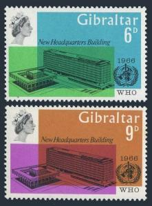 Gibraltar 180-181,MNH.Michel 182-183. New WHO Headquarters,1966.