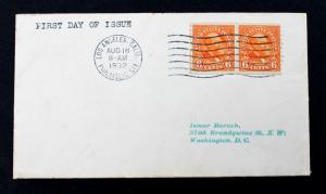 US Stamp Sc# 723 FDC 1932  6c Garfield Pair on Tiny Cover 3 x 5 1/2