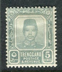 MALAYA TRENGGANU; 1910 early Sultan Zain issue Mint hinged 5c. value
