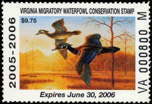 VIRGINIA #18 (M SUFFIX) 2005 STATE DUCK WOOD DUCKS by Guy Crittenden