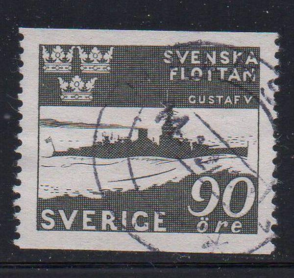 Sweden Sc 355 1944 90 ore warship stamp used