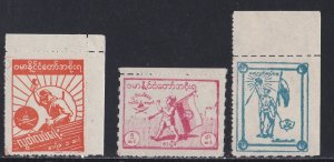Burma # 2N38-40, Hyphen Hole Punch, Japanese Occupation, NH, 1/2 Cat.
