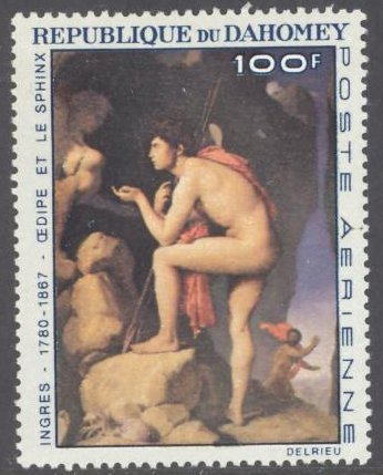 Dahomey C50 100f Ingres Paintings Oedypus & The Sphynx MNH CV$4 1967