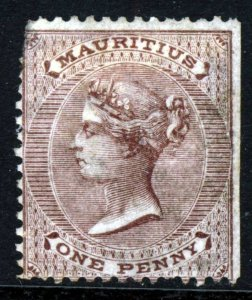 MAURITIUS Queen Victoria 1860 One Penny Purple-Brown No Wmk SG 46 MINT FLAW