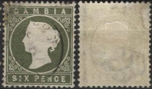 Gambia 18 (used) 6p Queen Victoria, slate green (1886)