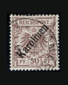 VINTAGE:CAROLINE IS- GERMAN 1899  USD HR  SCOTT # 6A $1600  LOT 1899X426