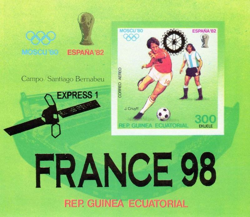 Equatorial Guinea Moscow'80 ovpt.Silver France 98 World Cup S/S MNH