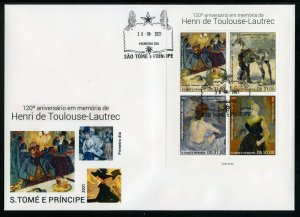 SAO TOME 2021 120th MEMORIAL OF HENRI TOULOUSE-LAUTREC PAINTINGS SHEET FDC
