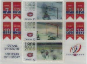CANADA - #2340 - MONTREAL CANADIENS 100th ANNIVERSARY HOLOGRAM SOUVENIR SHEET