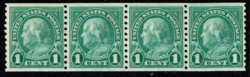 US STAMP #597 Series of 1923-29 1¢ Ben Franklin MNH/OG STRIP OF 4