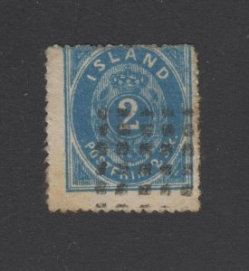 ICELAND 1873 Sc 1 ULTRA DEEP SHADE FORGERY WITH DOTS MUTE CANCEL (CV$2,150)
