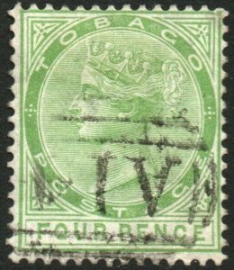 TOBAGO-1880 4d Yellow-Green Sg 10 FINE USED V48591