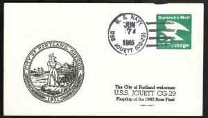 USS JOUETT CG29 1985 PORTLAND ROSE FESTIVAL CACHET NAVAL DOMESTIC ENVELOPE