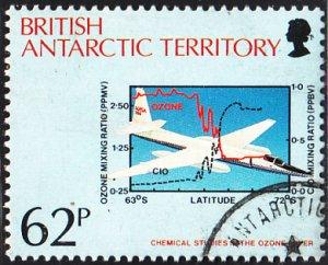 British Antarctic Territory 1991 used Sc #179 62p Airplane, chemical studies