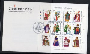 Guernsey Sc 319 1985 Christmas Gift Bearers stamp sheet on FDC