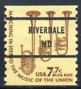 Riverdale MD, 1614-81 Bureau Precancel, 7.7¢ coil Saxhorns