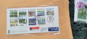 1990 SINGAPORE REGISTERED FDC TO USA  ON DEFINITIVE STAMPS TOURISM SERIES