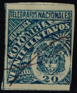 Colombia Yvert #TE24 Telegraph Stamp; Used (2Stars)