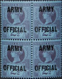 Victoria SG044 1896 2 1/2d Blue Army Official --- UNMOUNTED Mint OG