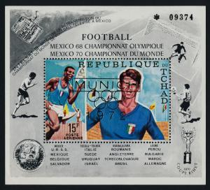 Chad C88B MNH Sports, Soccer, INTELSAT III, Munich o/p